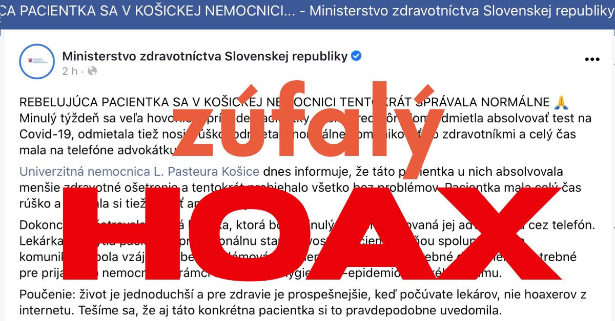 Zúfalý HOAX Fakultnej nemocnice L. PASTEURA v Košiciach a Ministerstva zdravotníctva SR